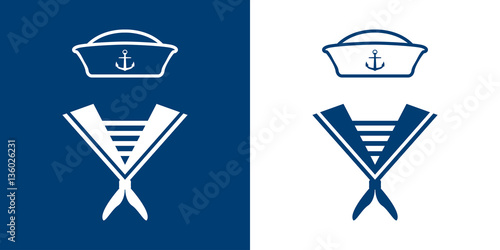 Carta da parati Icono plano uniforme marinero azul y blanco