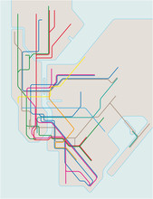 Colored Subway Vector Map Of New York City