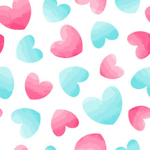 Seamless Vector Pattern With Hearts. Watercolor Effect.
