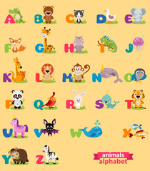 Cute english illustrated zoo alphabet with cute cartoon animal. Vector illustration for kids education, foreign language study.