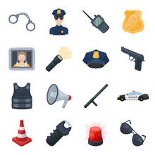 Police Set Icons In Cartoon Style. Big Collection Of Police Vector Symbol Stock Illustration