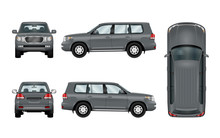 Off Road Car Template. Vector Isolated Suv On White. The Ability To Easily Change The Color. View From Side, Back, Front And Top. All Sides In Groups On Separate Layers.
