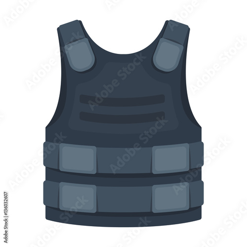Fotografía  Bulletproof vest icon in cartoon style isolated on white background