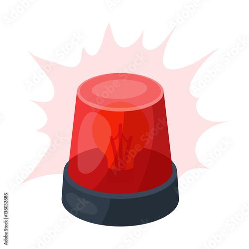Fotografia Emergency rotating beacon light icon in cartoon style isolated on white background