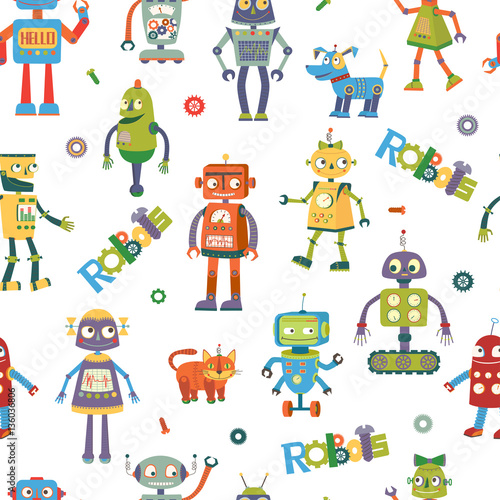 Obraz na plátne  Vector robots. Cartoon seamless pattern