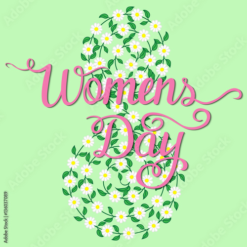 Poster Hibou International Womens Day. Lettering design.