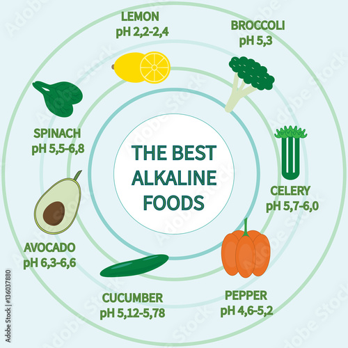 Best alkaline foods with Ph balance illustration. Canvas Print