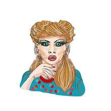 Pop Art Surprised Woman Face W...