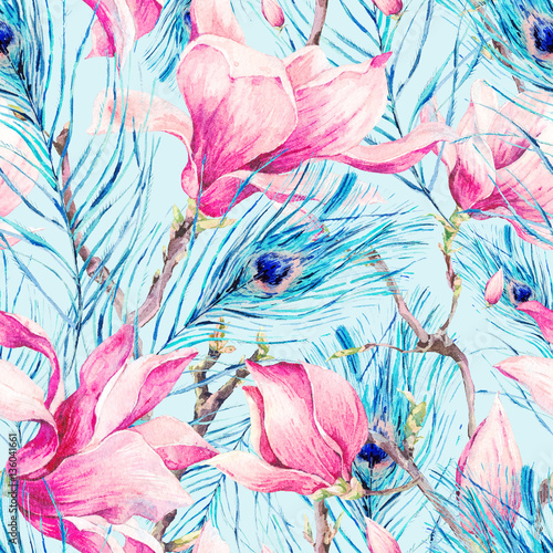 Cotton fabric Seamless Pattern with Magnolia and Peacock Feather