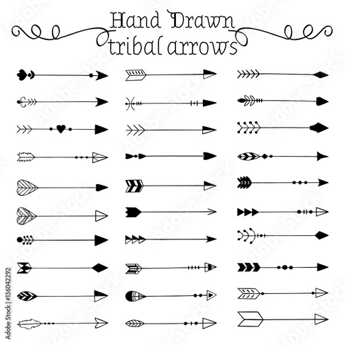 Fototapety, obrazy: Hand drawn tribal arrows set. Vector illustration.