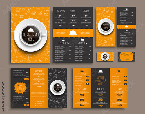 Template A4 menu, folding brochures and flyers narrow for a rest Wall mural