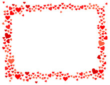 Abstract Love For Your Valentines Day Greeting Card Design. Red Hearts Horizontal Frame Isolated On White Background. Vector Illustration
