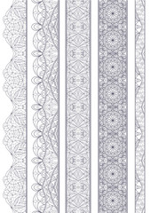 Ornamental Seamless Borders Vector Set for Ethnic Decor