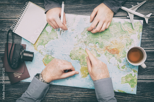 Tuinposter Wereldkaart Business travel traveling map world concept.
