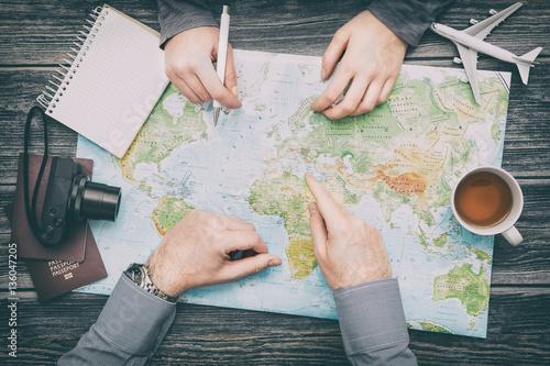 Deurstickers Wereldkaart Business travel traveling map world concept.
