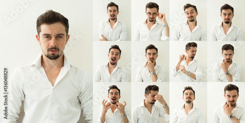 Fotografía  Set of young man's portraits with different emotions