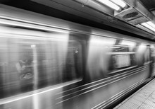 New York Subway Train Fast Moving In Station