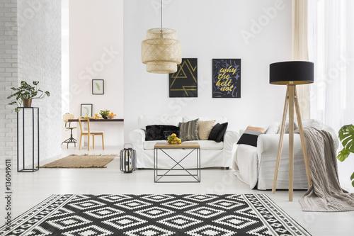 Obraz Apartment with white brick wall - fototapety do salonu