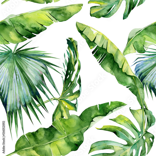 bezszwowa-akwareli-ilustracja-tropikalni-liscie-zwarta-dzungla