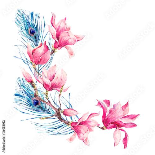 akwarela-vintage-kwiaty-bukiet-z-magnolii