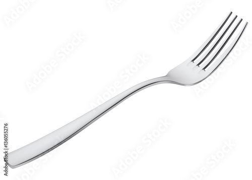 Obraz na płótnie Fork isolated on white. Vector 3d illustration