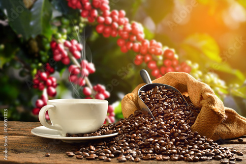 Cup of coffee with smoke and coffee beans in burlap sack on coff Fototapet