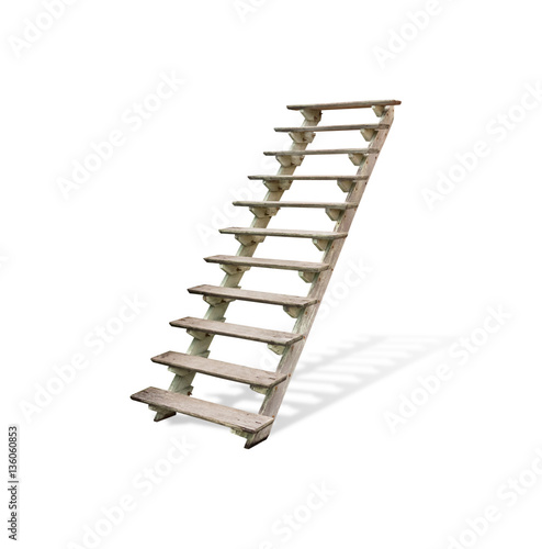 Photo Stands Stairs wooden stairs,isolated on white background with clipping path