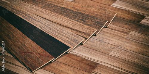 Obraz na plátně Laminate floor on wooden background. 3d illustration