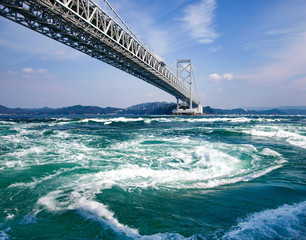Fototapeta na wymiar The world largest whirling waves in Naruto Channel, Japan 大鳴門橋のうずしお