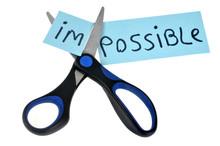 Ciseaux Coupant Le Mot Impossible Pour Faire Possible