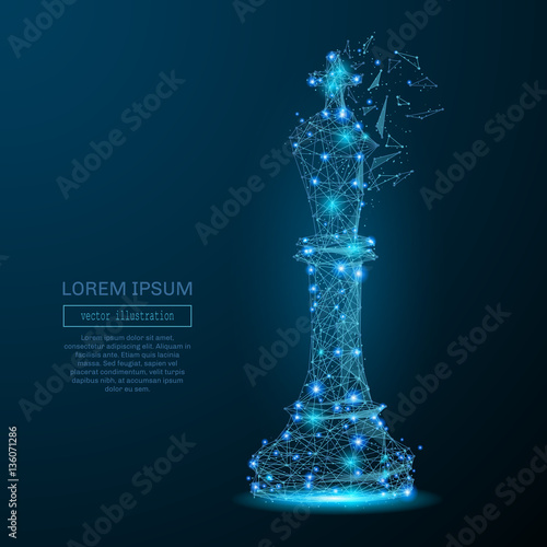 Abstract image of a king of chess in the form of a starry sky or space, consisting of points, lines, and shapes in the form of planets, stars and the universe. Vector business Fototapete