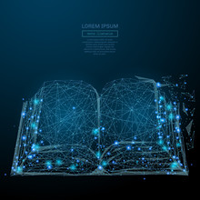 Abstract Image Of A Open Book In The Form Of A Starry Sky Or Space, Consisting Of Points, Lines, And Shapes In The Form Of Planets, Stars And The Universe. Vector Business
