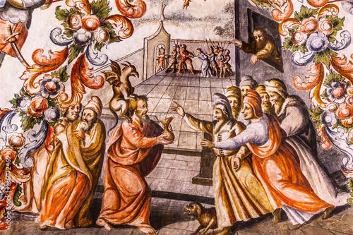 Judas Receiving Silver Fresco Sanctuary of Jesus Atotonilco Mexi Fototapeta