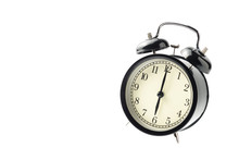 Black Vintage Alarm Clock Isolated Floating On White Background