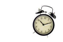 Black Vintage Alarm Clock Isolated Floating On The Air With Whit