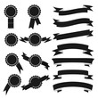 Set of black stamps and ribbons. Vector illustration