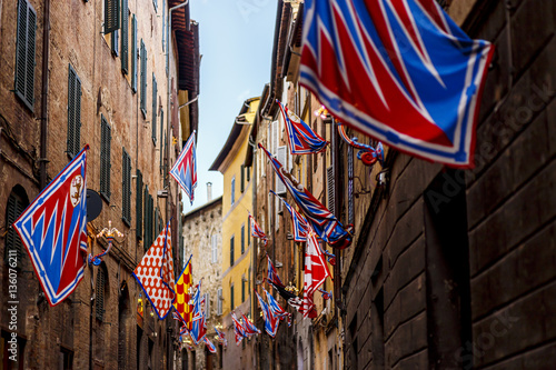Fototapeta Banners of the contrads in Siena