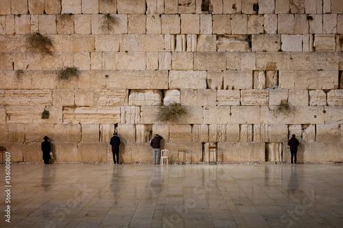Fotobehang Midden Oosten Men at the Wailing Wall - West Wall - Old Jerusalem, Israel