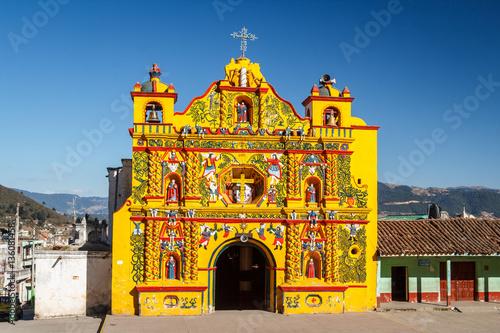 Church facade in San Andres Xecul town, Guatemala Wallpaper Mural