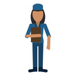 woman hat employee holding folder vector illustration eps 10