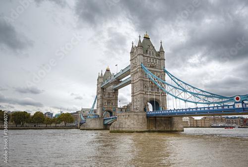 Famous Tower Bridge Over The River Thames London England United Kingdom