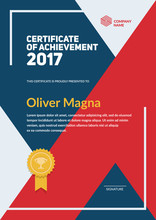 Certificate Of Achievement Template. Flat Geometric Design. Layered Eps10 Vector.