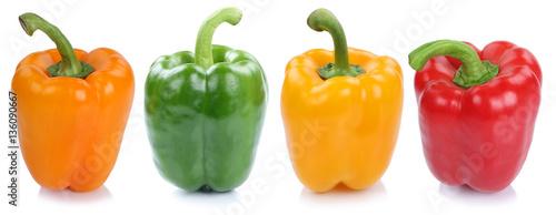 Photo Paprika Sammlung frisch Gemüse seitlich in einer Reihe Freistel