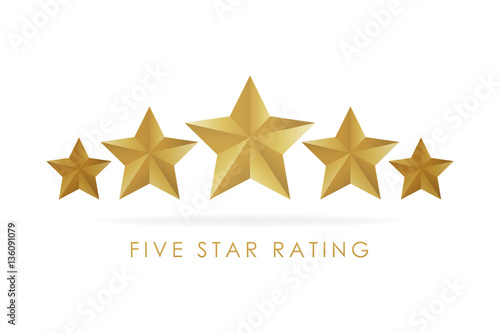 Fotografía  Five golden rating star vector illustration in white background