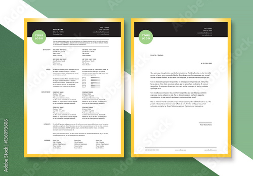 Clean And Modern Resume Cover Letter Layout Set