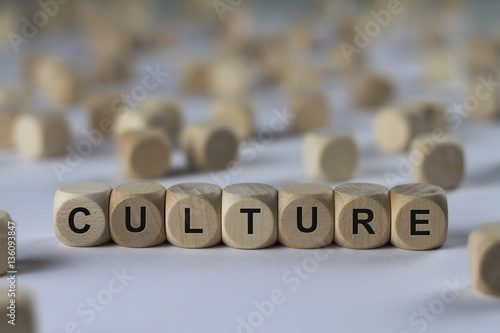 Fotografie, Obraz  culture - cube with letters, sign with wooden cubes