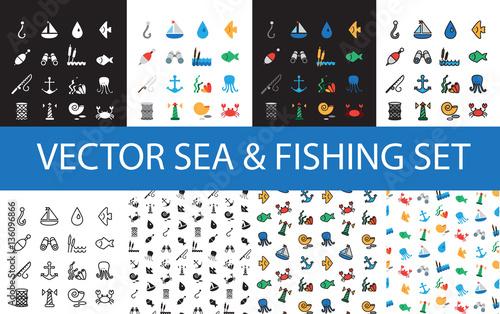 Isolated marine and fishing icons set Tablou Canvas
