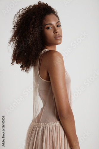 pretty delicate black woman in transparent dress Slika na platnu