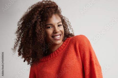 happy smiling black woman's portrait Poster