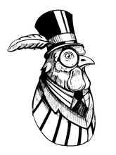 Rooster In A Hat And Jacket